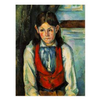 Boy in the red vest postcard