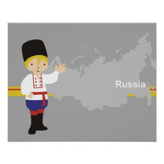 Boy in traditional Russian clothing in front of Posters