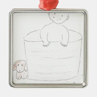 Boy in Tub Metal Ornament