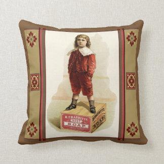 Boy in Velvet Suit on Soap Box Pillow