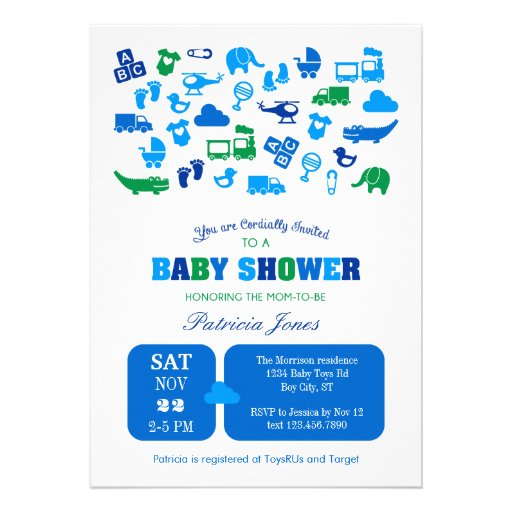 boy items baby shower invitation zazzle