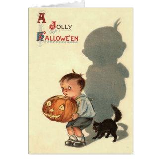 Boy Jack O Lantern Shadow Black Cat Card