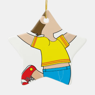 Boy Jumping Double-Sided Star Ceramic Christmas Ornament