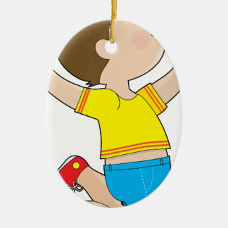 Boy Jumping Double-Sided Oval Ceramic Christmas Ornament