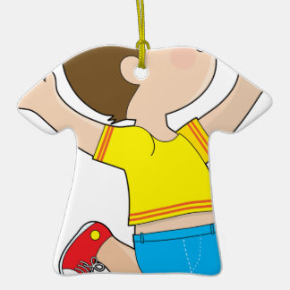 Boy Jumping Double-Sided T-Shirt Ceramic Christmas Ornament