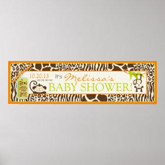 Boy Jungle Monkey Safari Baby Shower Banner Poster