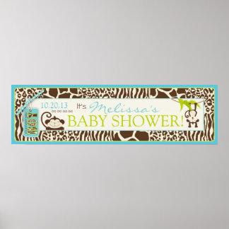 Boy Jungle Monkey Safari Baby Shower Banner Print