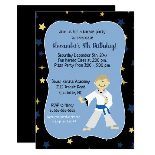 Boy Karate Birthday Invitations Blue Belt