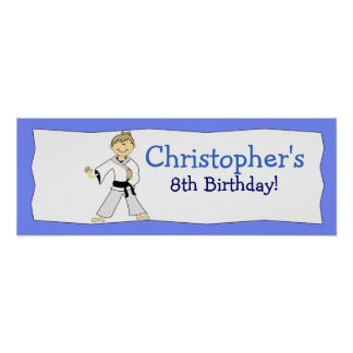 BOY KARATE KUNG FU Personalized Birthday Banner Poster