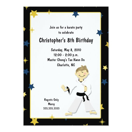 BOY KARATE MARTIAL ART BIRTHDAY PARTY CARD