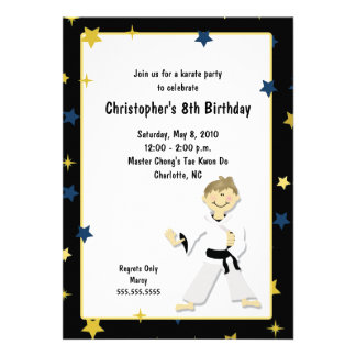 BOY KARATE MARTIAL ART BIRTHDAY PARTY PERSONALIZED ANNOUNCEMENT