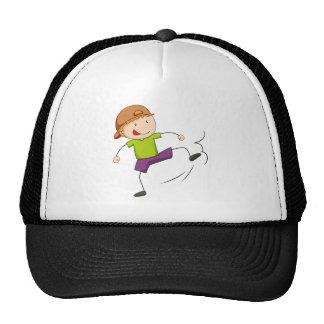 Boy kicking trucker hat
