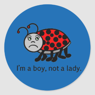 Boy Lady Bug Classic Round Sticker