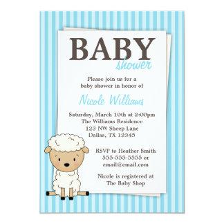 "Boy Lamb Baby Shower Blue Stripe Invitations 5"" X 7"" Invitation Card"