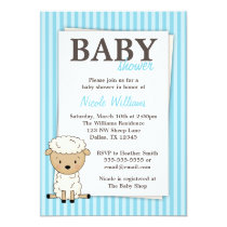 Boy Lamb Baby Shower Blue Stripe Invitations