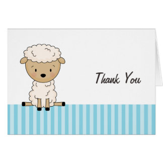 Boy Lamb Baby Shower Blue Stripe Thank You Stationery Note Card