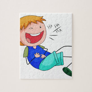 Boy laughing puzzles