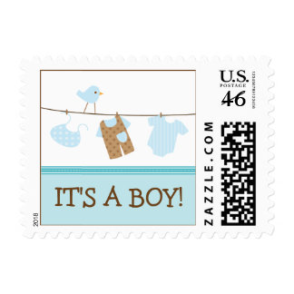 Boy Laundry Baby Announcement Stamp aqua