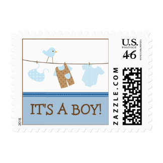 Boy Laundry Baby Announcement Stamp blue