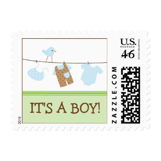 Boy Laundry Baby Announcement Stamp green