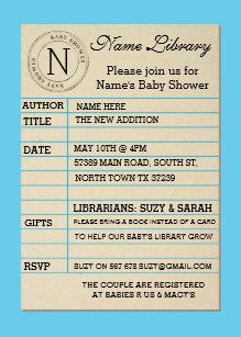 Library invitations zazzle boy library card baby shower blue invitation filmwisefo