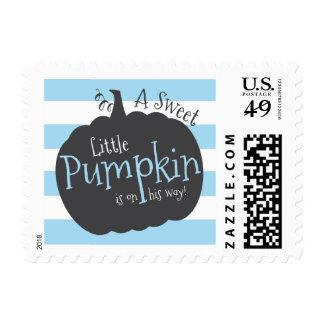 Boy Little Pumpkin Fall Baby Shower Stamps, Blue Postage