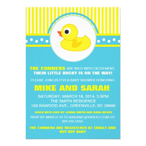boy little rubber ducky baby shower invitation 5 x 7 invitation c