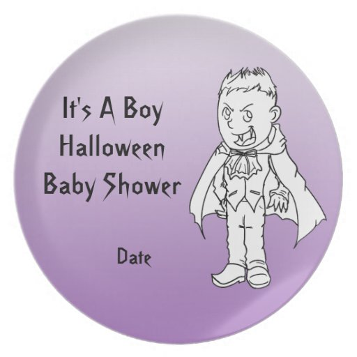 Baby Boy Gifts Halloween : Boy little vampire halloween baby shower plates zazzle