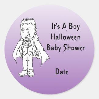 Boy Little Vampire Halloween Baby Shower Stickers