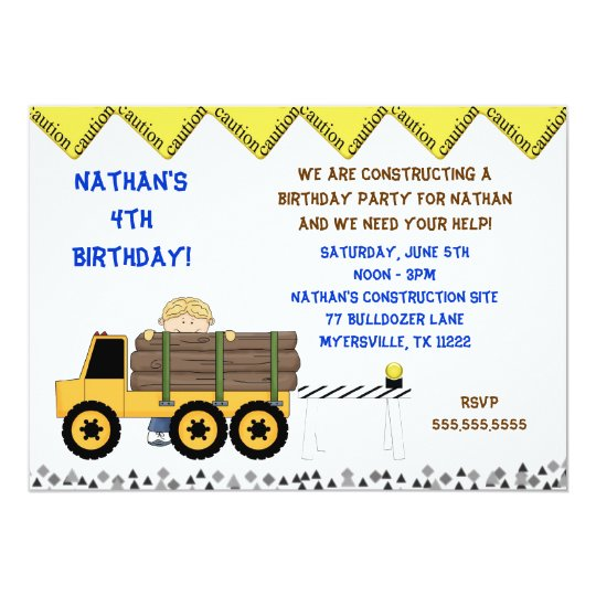 Boy Log loader Truck Birthday Party Invitation