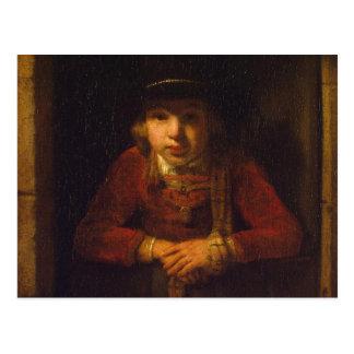 Boy Looking through the Window, c.1647 Postcard