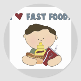 Boy Loves Fast Food Tshirts and Gifts Classic Round Sticker