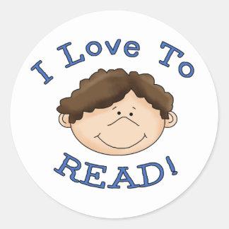 Boy Loves to Read Classic Round Sticker