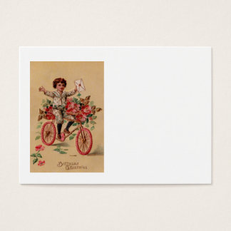 Boy Mail Pink Flower Bicycle Birthday Business Card