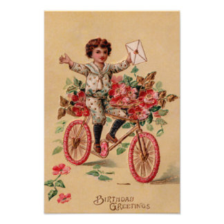 Boy Mail Pink Flower Bicycle Birthday Photo Print