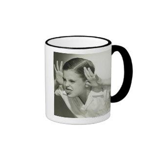 Boy Making Face Ringer Coffee Mug