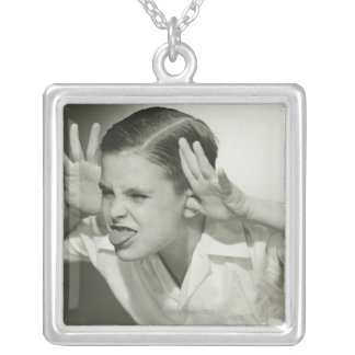 Boy Making Face Silver Plated Necklace