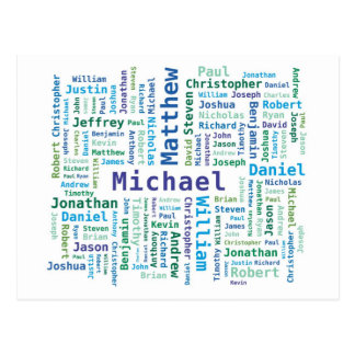 Boy / Man Names Word Cloud in Blue Green Colors Postcard