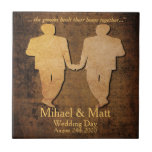 Boy Meets Boy Gay Wedding Gift Tile for Grooms