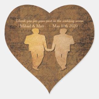 Boy Meets Boy Gay Wedding Heart Sticker
