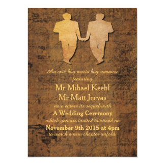 Boy Meets Boy Gay Wedding Invitation