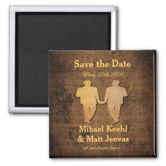 Boy Meets Boy Save the Date Magnet Gay Wedding 2 Inch Square Magnet