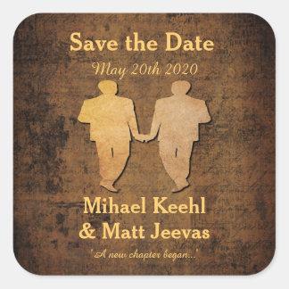 Boy Meets Boy Save the Date Sticker Gay Wedding Square Sticker