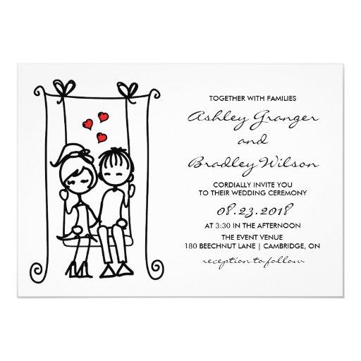 boy meets girl modern doodles wedding invitation zazzle With modern girl wedding invitations