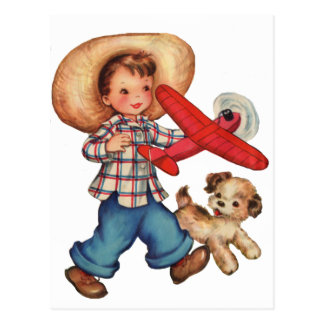 Boy Model Plane and Puppy Postcard