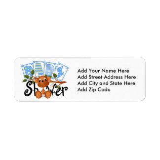 Boy Monkey Baby Shower Return Address Labels