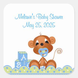 Boy Monkey Baby Shower Square Sticker