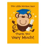 Boy Monkey Graduate Custom Postcards