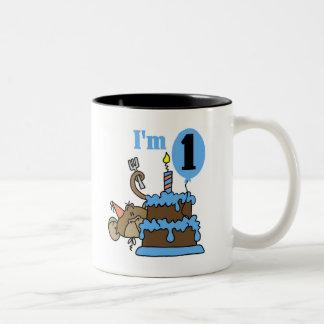 Boy Monkey I'm 1 Birthday Tshirts and Gifts Two-Tone Coffee Mug