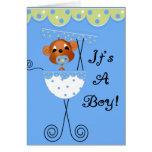 Boy Monkey in Carriage It's a  Boy Cards